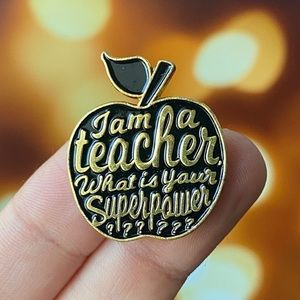 Teacher Black Apple Enamel Pin/ Brooch